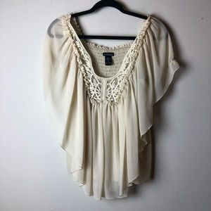 Moda International Cream Boho Flowy Blouse